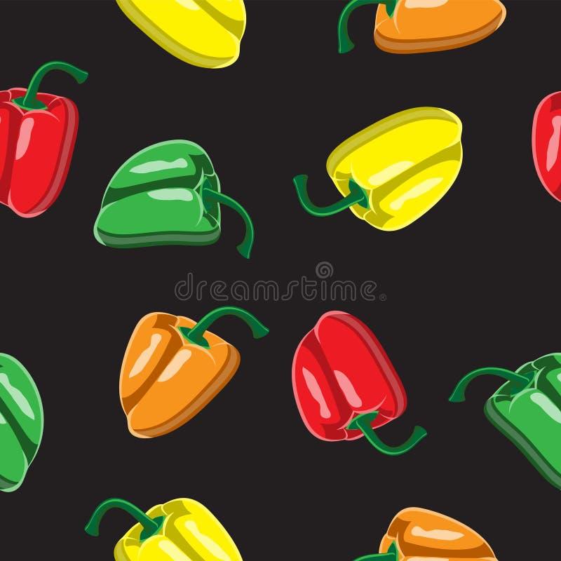 甜椒五颜六色的无缝的样式 红色,绿色,桔子,在一个黑背景传染媒介设计例证的黄色甜辣椒粉 库存例证