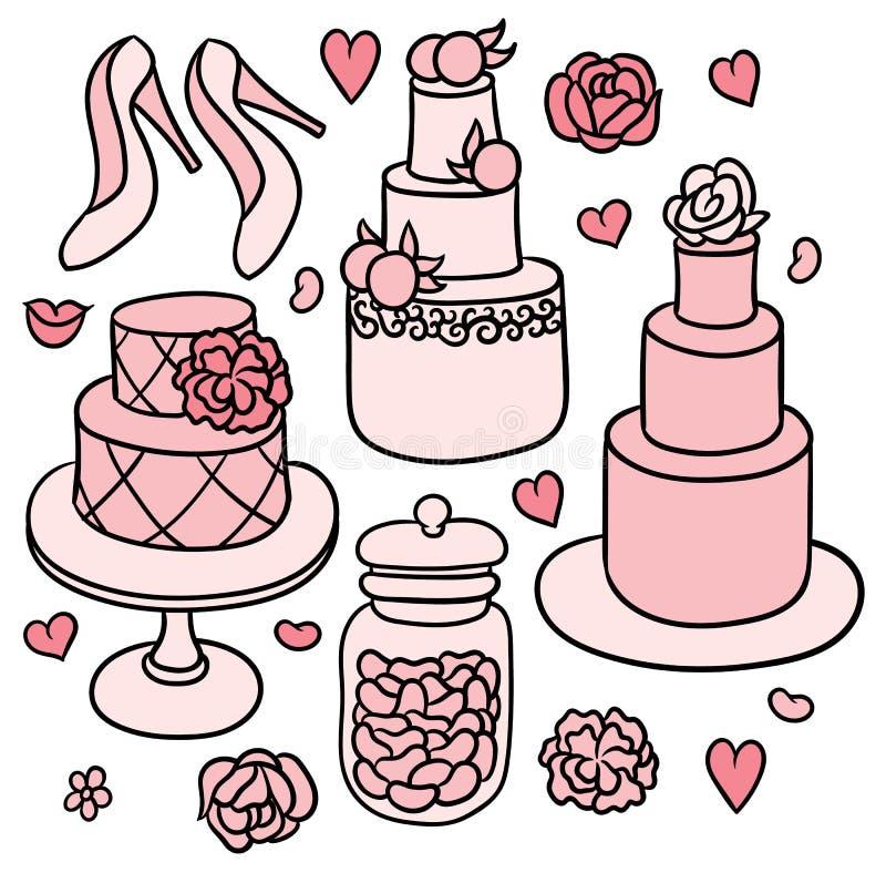 甜浪漫婚礼材料 皇族释放例证