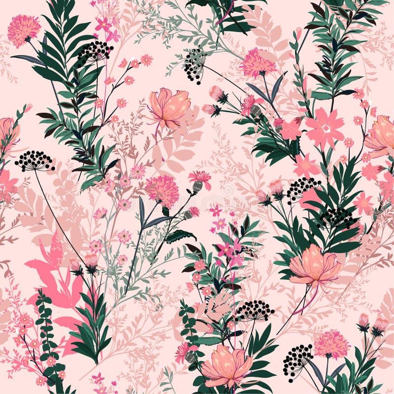甜淡色软和柔和在充分夏天庭院里绽放 向量例证