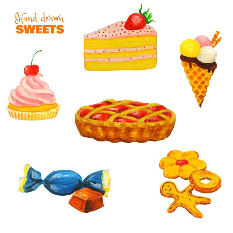 甜点五颜六色的集合 在白色隔绝的准备好酥皮点心 手拉的明亮的饼干,糖果,冰淇淋,莓果饼,蛋糕 免版税库存图片