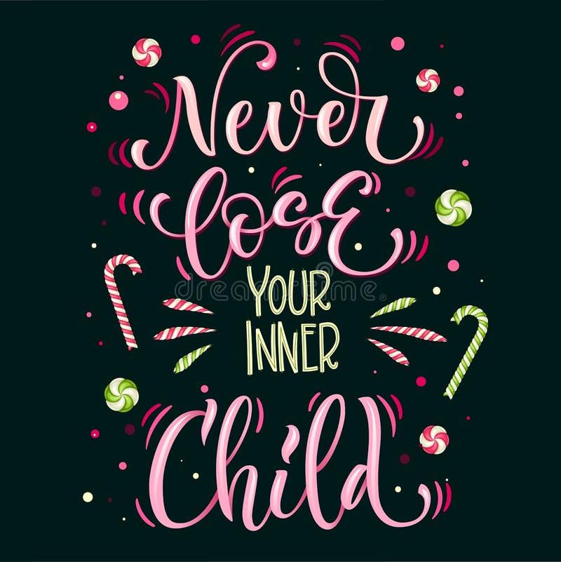 甜点从未宽松引述五颜六色的手凹道字法词组-您内在儿童在鲜绿色和粉色 向量例证