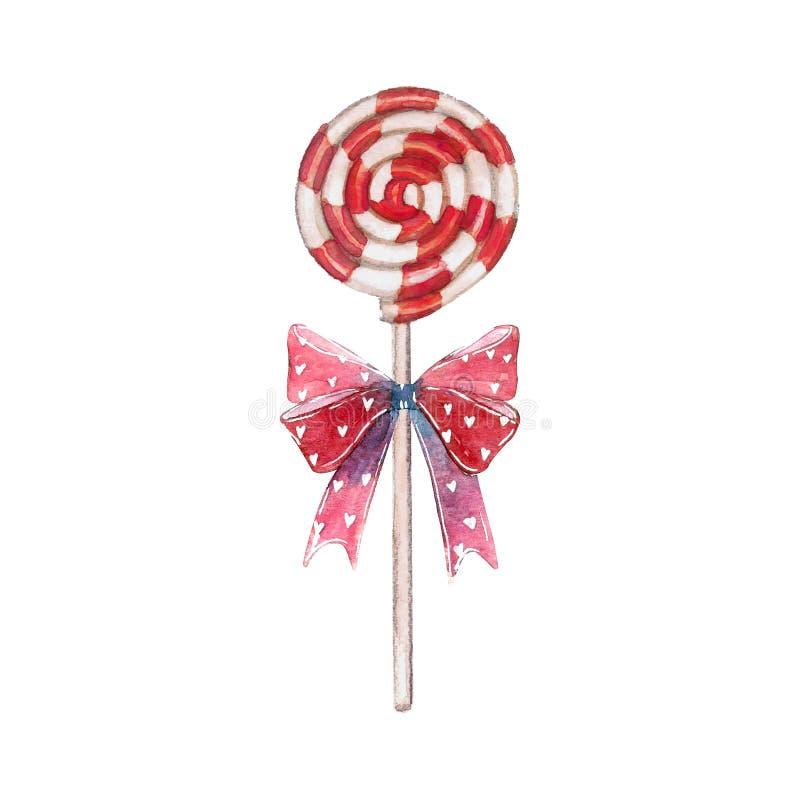 甜点元素做了红色漩涡棒棒糖吮吸者忠心于弓 库存例证