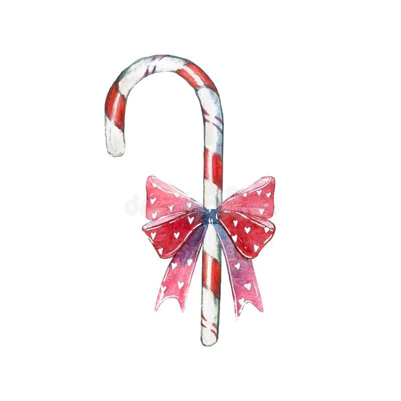 甜点元素做了红色漩涡棒棒糖吮吸者忠心于弓 向量例证