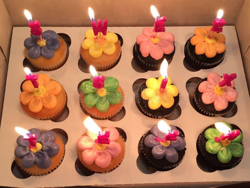 甜点十六杯形蛋糕 库存照片