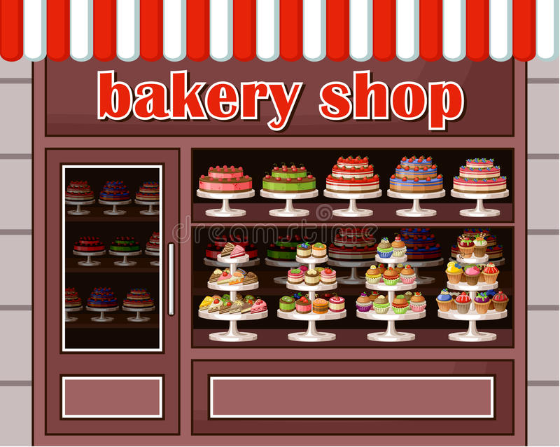 甜点和面包店商店  皇族释放例证