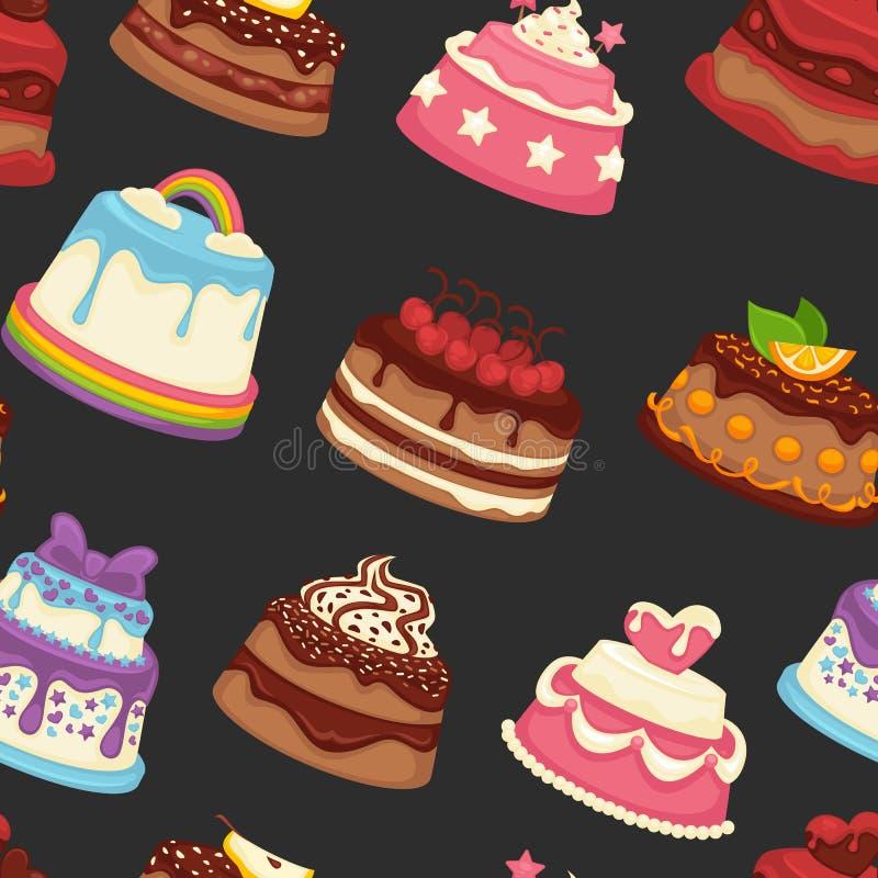 甜点和面包店有乳脂状的顶部无缝的样式的 向量例证
