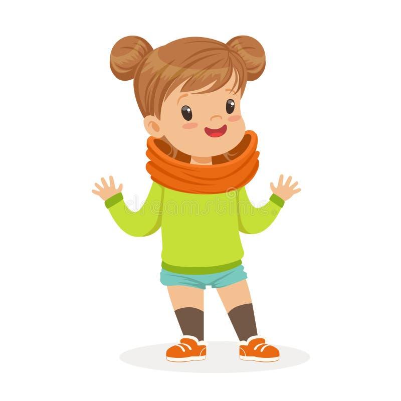 甜点微笑的小女孩在便衣五颜六色的漫画人物传染媒介例证穿戴了.图片