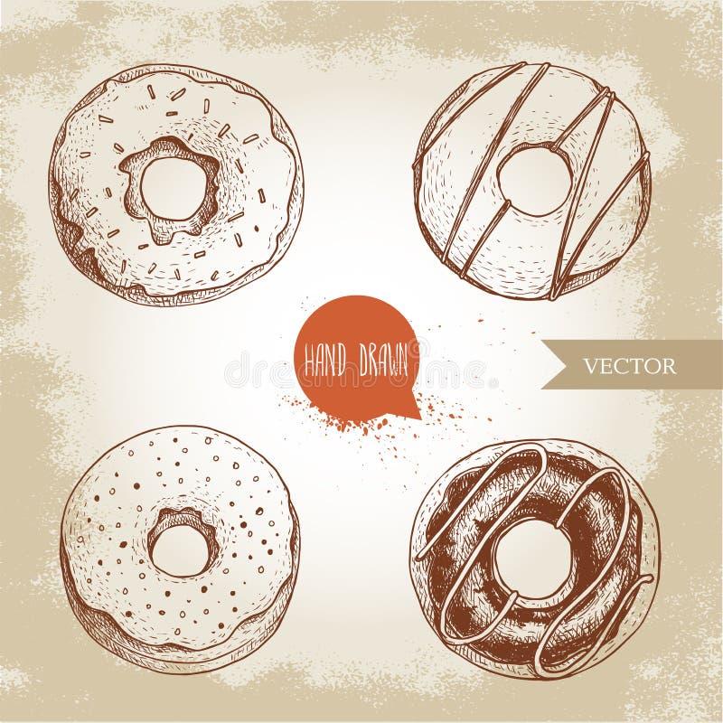 甜点心油炸圈饼 手拉的剪影样式例证 给上釉的,被冰的甜多福饼用巧克力 新鲜烘烤 库存例证