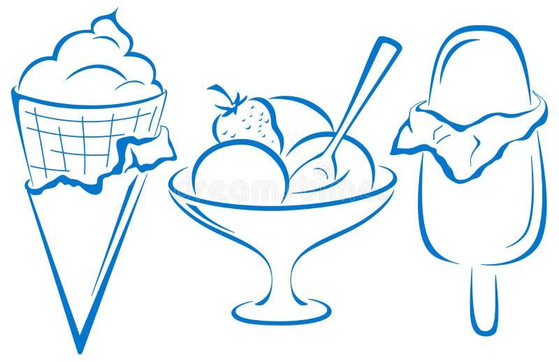 冰淇凌,集合 库存例证
