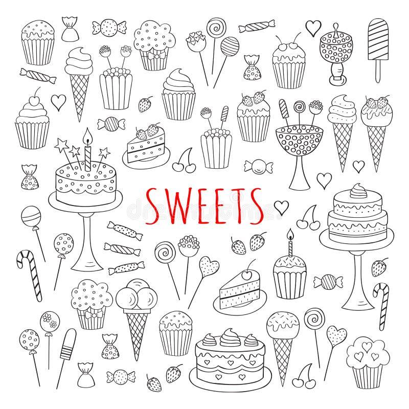 甜点被设置的传染媒介象手拉的乱画
