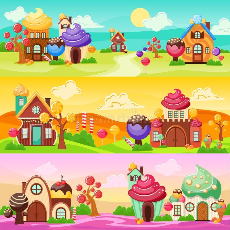 甜点被设置的风景横幅 向量例证