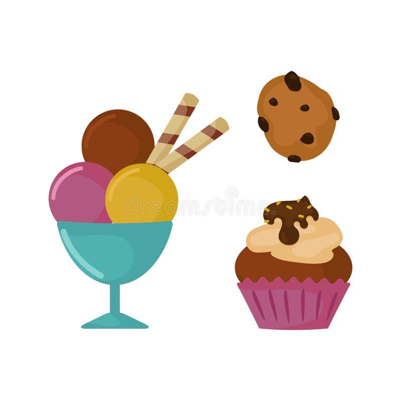 甜点食物面包店点心糕点糖果杯形蛋糕设计和快餐巧克力蛋糕五颜六色的假日糖果焦糖 向量例证