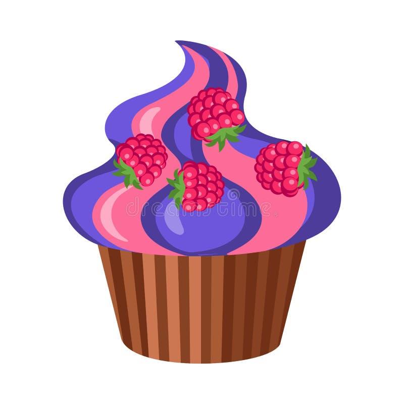 甜点 圆的果子杯形蛋糕用四个莓 向量例证
