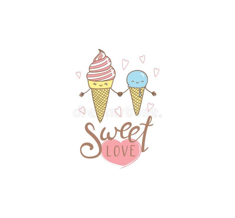 甜爱冰淇凌海报 皇族释放例证