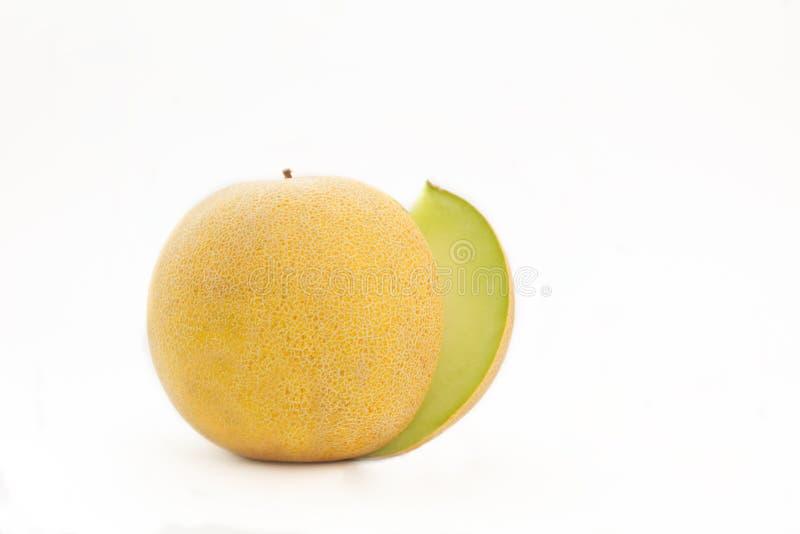甜瓜瓜被隔绝的白色背景 免版税库存照片