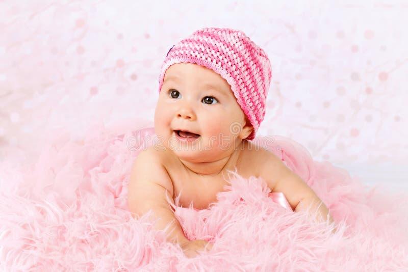 甜矮小的婴孩佩带的砰芭蕾舞短裙裙子 库存图片