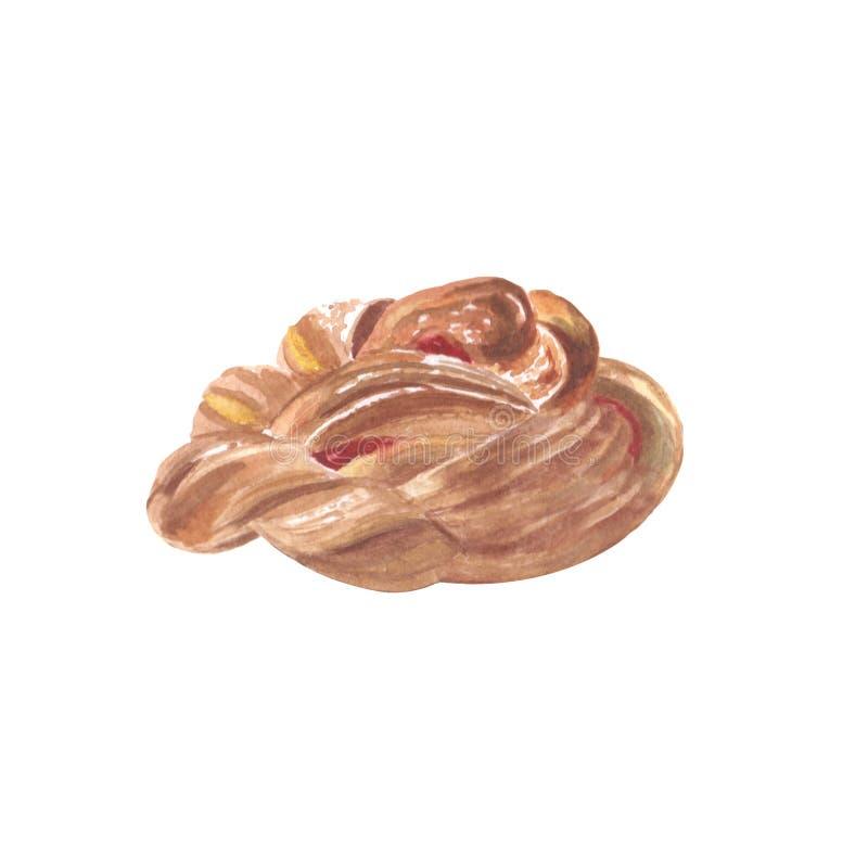 甜糖小圆面包用果酱和雄鸡塑造了在白色背景隔绝的棒棒糖 免版税图库摄影