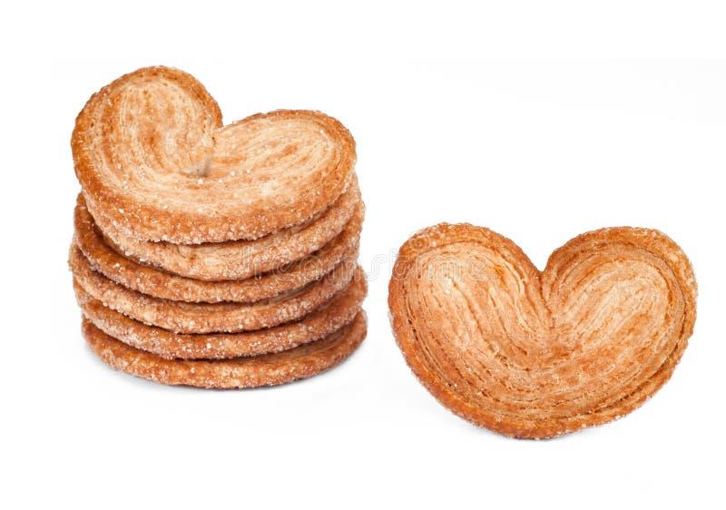 甜细平面海绵体塑造曲奇饼 在w隔绝的面包店产品 免版税库存照片