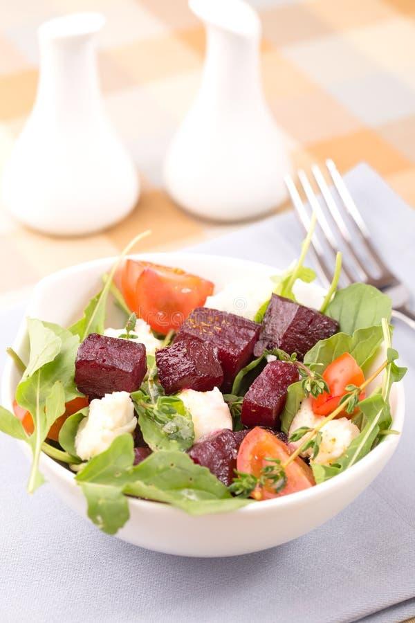 甜菜、芝麻菜和无盐干酪沙拉  库存图片