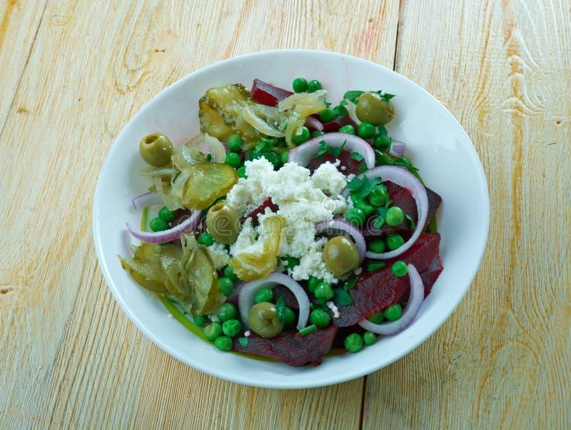 甜菜根,绿豆,希脂乳沙拉 免版税库存图片