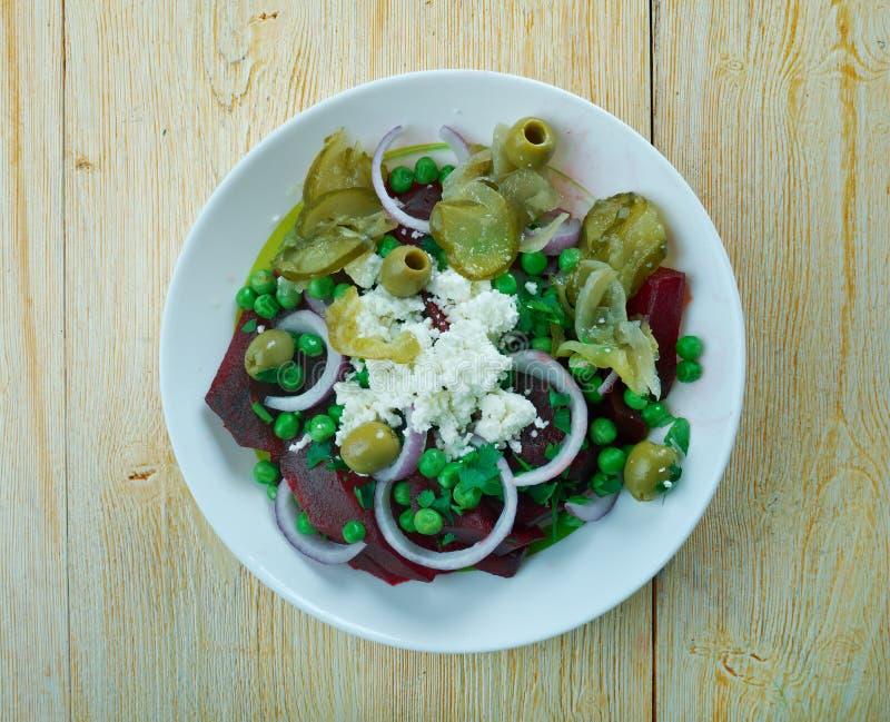 甜菜根,绿豆,希脂乳沙拉 库存图片