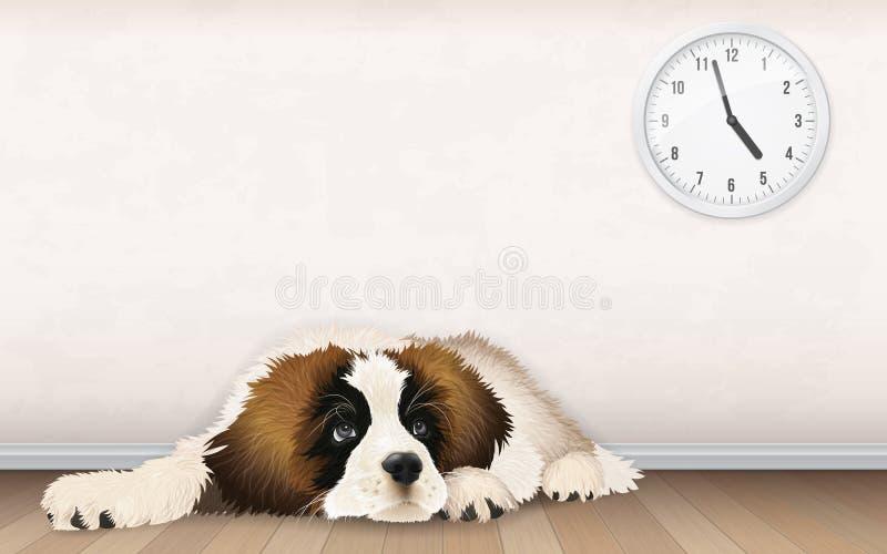 甜蓬松小狗等待 向量例证