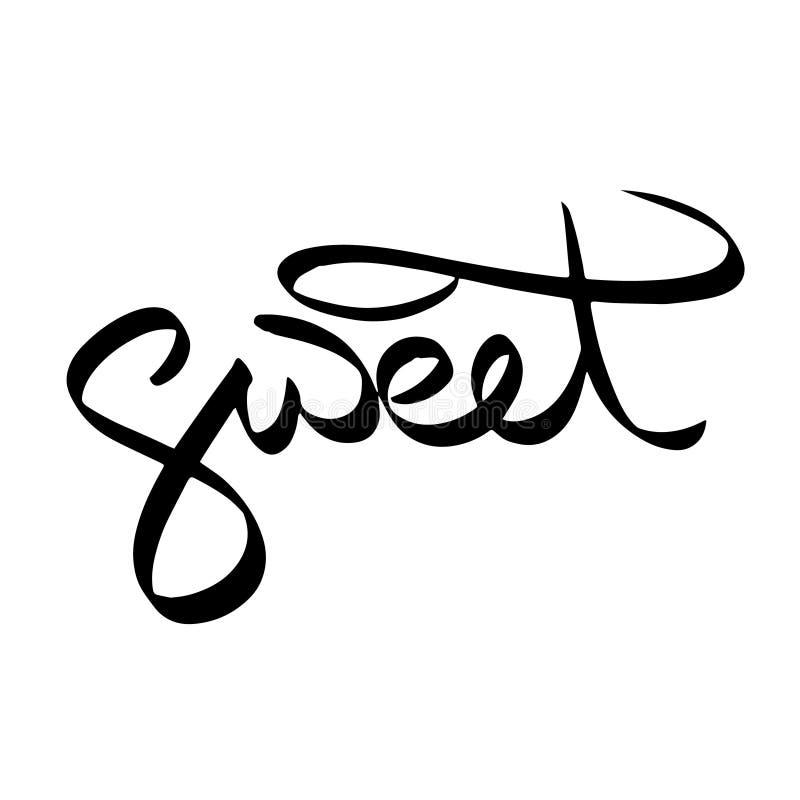 甜蜜,黑印刷术信件 在标志手上写字速写了 徽章横幅装饰标记婚姻的爱卡片T恤杉 向量例证