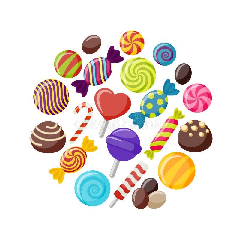 甜被设置的糖果平的象 皇族释放例证