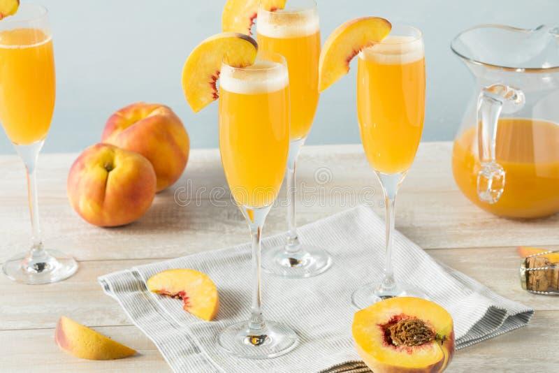 甜起泡的桃子Bellini含羞草 库存照片