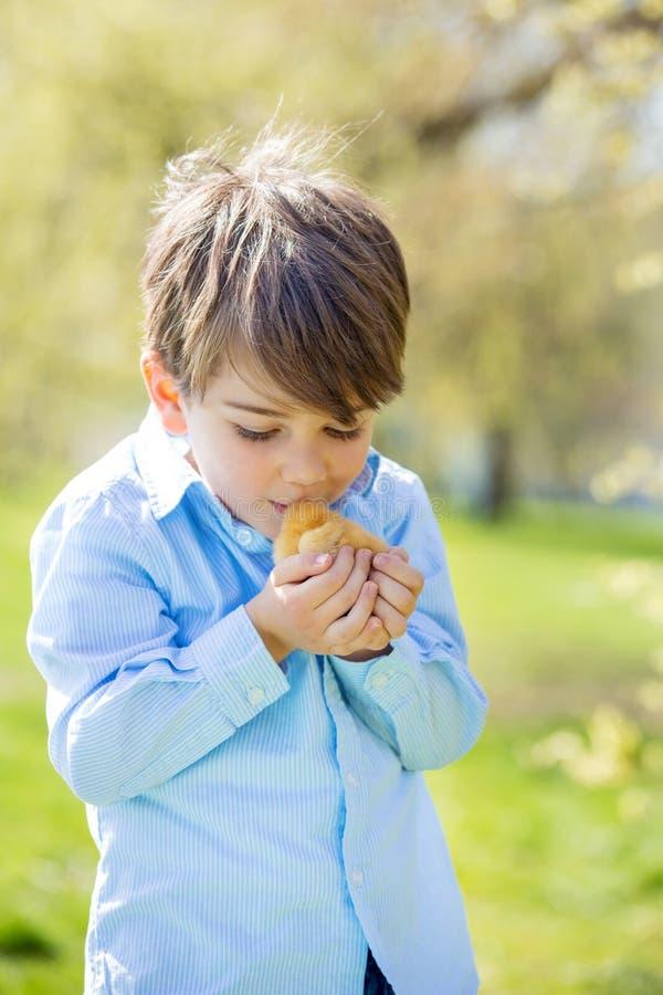 甜逗人喜爱的孩子,学龄前男孩,使用与一点新出生的池氏 免版税库存照片