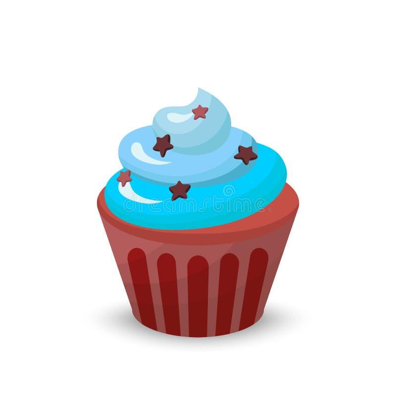 甜食物巧克力乳脂状的杯形蛋糕集合隔绝了传染媒介例证 库存例证