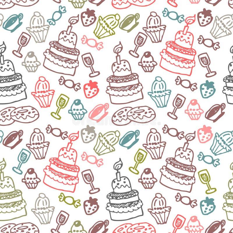 甜食物无缝的样式 向量例证