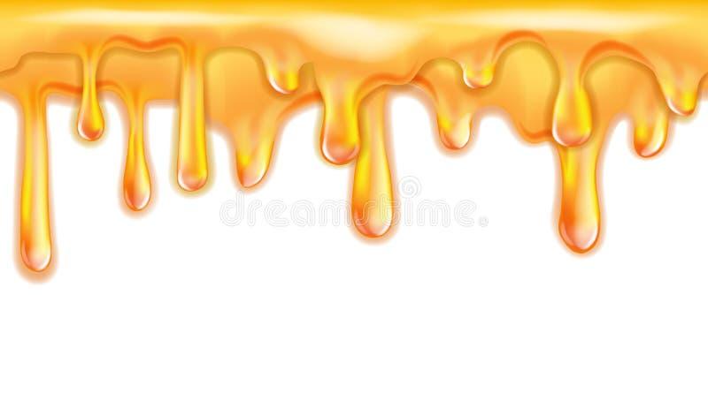 甜黄色蜂蜜滴下无缝的样式 库存例证