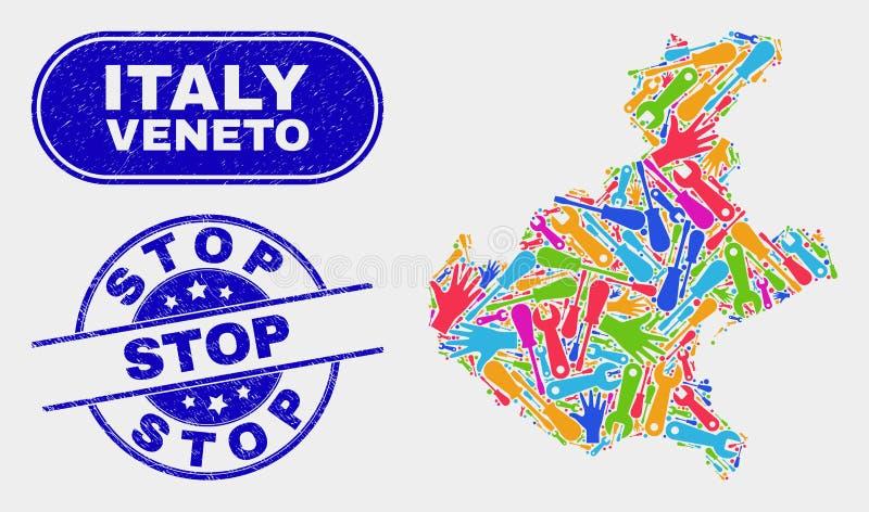 生产力威尼托地区地图和难看的东西中止封印 向量例证