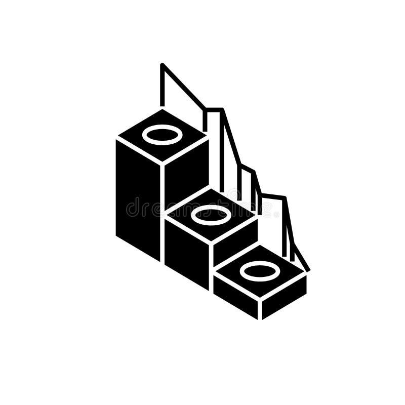 生产发展黑象,在被隔绝的背景的传染媒介标志 生产发展概念标志 库存例证