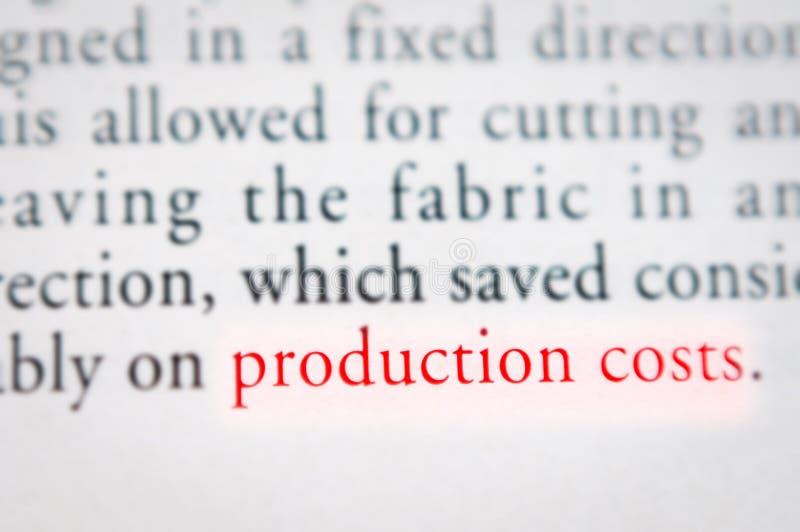 生产成本概念 免版税库存图片