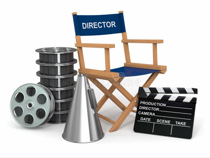 生产者椅子、clapperboard和影片reelsl。 皇族释放例证