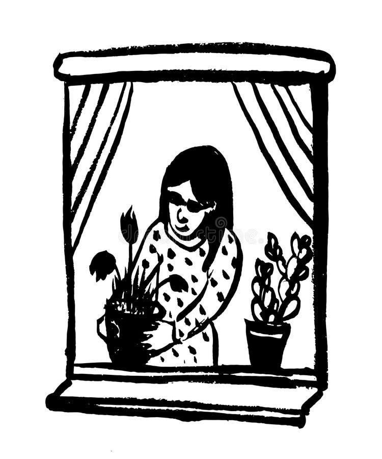 生动描述浇灌在罐的黑暗的太阳镜的可笑的例证女孩房子花在窗口,剪影,传染媒介illustr 皇族释放例证