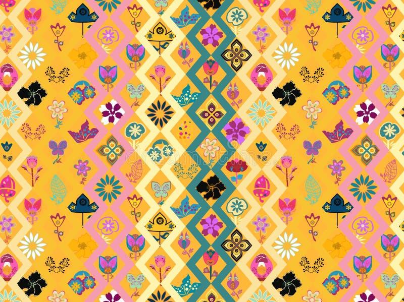 生动的五颜六色的花卉和几何重复的样式和背景 皇族释放例证