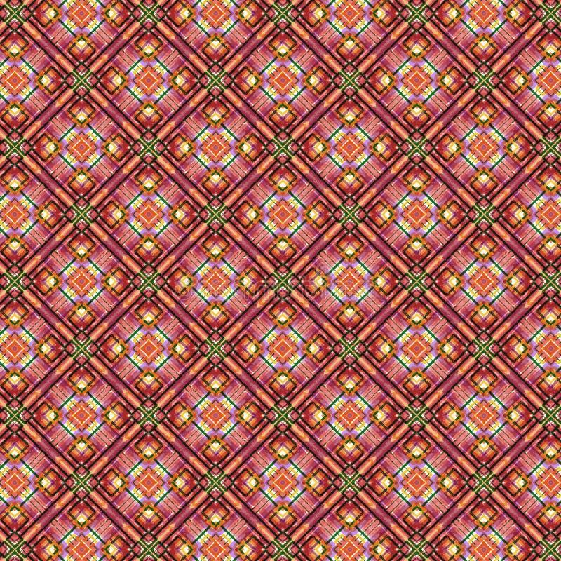 生动的手画桃红色和桃色的金刚石和正方形在重复样式的无缝的格子花呢披肩 向量例证