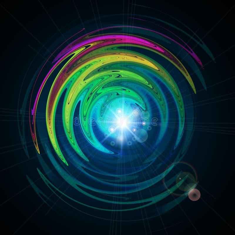 生动的抽象背景-设计组成由发光的漩涡和分数维样式 库存例证