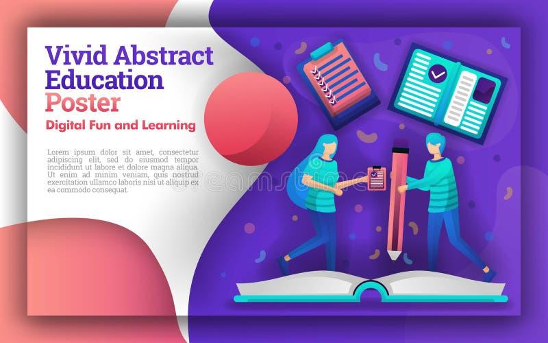 生动的摘要的例证与教育题材的  在一本大书书写的学生 可以是为海报和w 向量例证