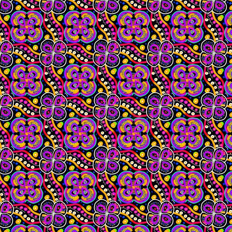 生动的花卉对称重复的样式以在黑色的淡紫色abd黄色 库存例证