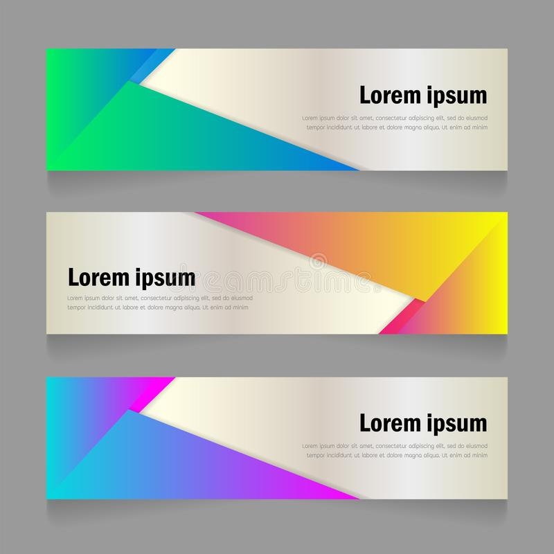 生动的颜色梯度摘要现代形状横幅模板设计 向量例证