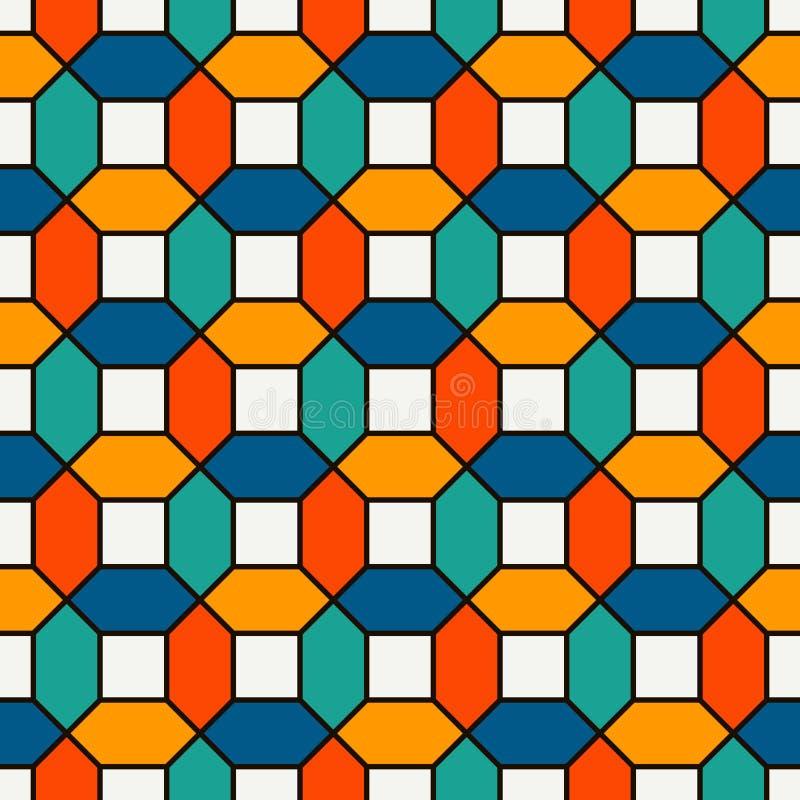 生动的颜色重复了六角形瓦片马赛克墙纸 与明亮的当代几何印刷品的无缝的表面样式 库存例证