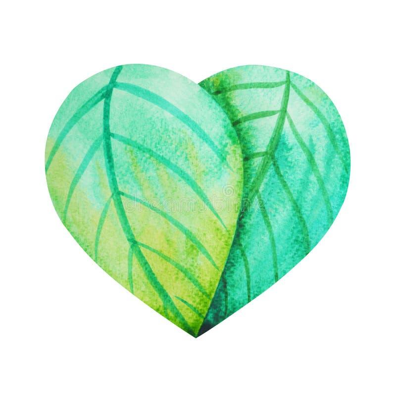 生叶在心脏标志,水彩绘的手拉的例证 向量例证