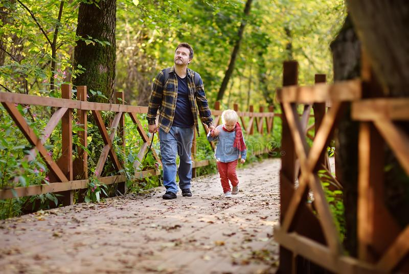 生和他的小儿子在远足的活动期间在森林里在日落 免版税图库摄影