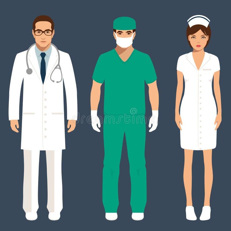 医生和护士 向量例证