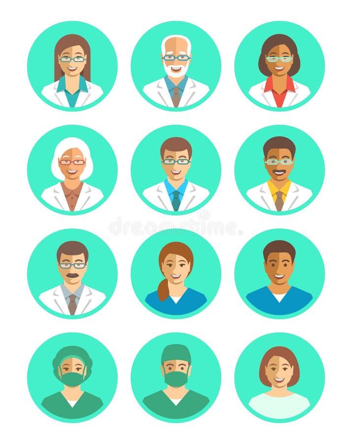 医生和医护人员平的简单的具体化 皇族释放例证
