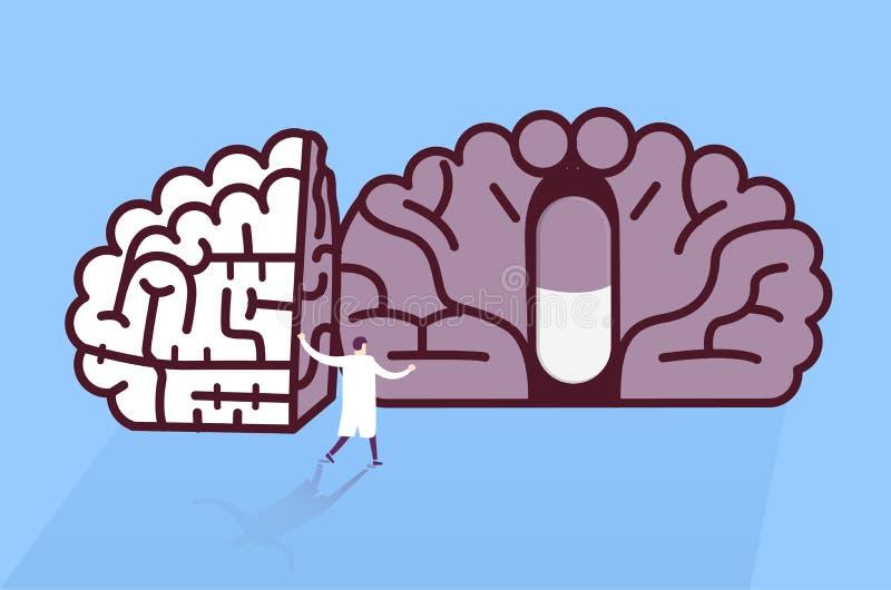 医生在脑子的被找到的药片 库存例证
